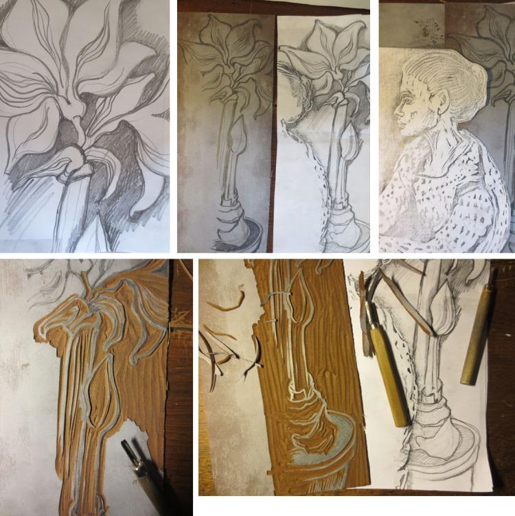 lino amaryllis skitser