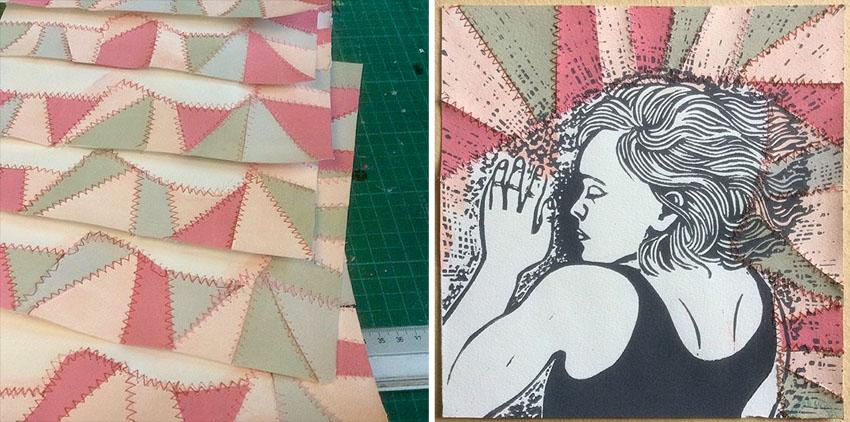 tryk på patchworkpapir